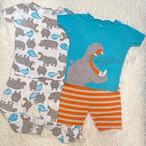 Sleepy Hippo Pajama Set